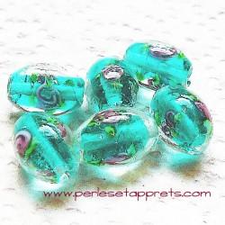 Perle ovale en verre transparent vert d'eau 14mm