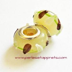 Perle en verre gros trou blanc marron 14mm