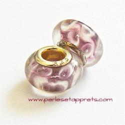 Perle en verre gros trou mauve 14mm
