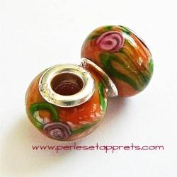 Perle en verre gros trou orange vert 14mm