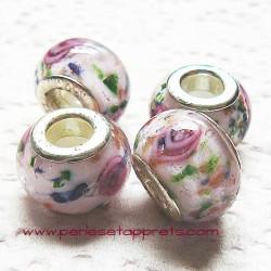 Perle en verre gros trou blanc rose 14mm