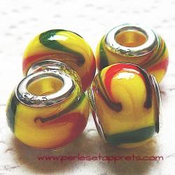 Perle en verre gros trou jaune 14mm