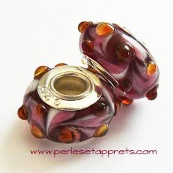 Perle en verre gros trou rouge 14mm