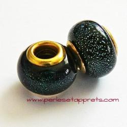 Perle en verre gros trou noir vert 14mm