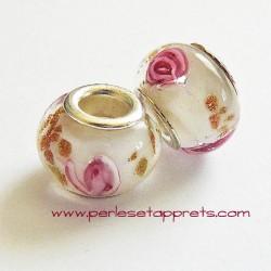 Perle en verre gros trou blanc 14mm