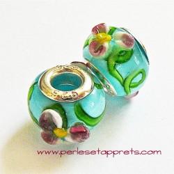 Perle en verre gros trou bleu fleur 14mm