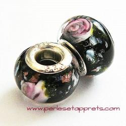 Perle en verre gros trou noir rose 14mm
