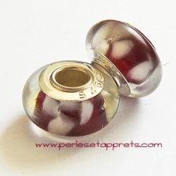 Perle en verre gros trou rouge blanc 14mm