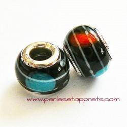 Perle en verre gros trou noir 14mm