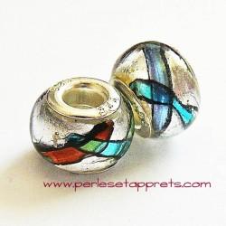 Perle en verre gros trou argenté 14mm