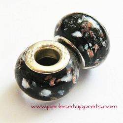 Perle en verre gros trou noir or 14mm
