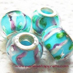 Perle en verre gros trou bleu 14mm