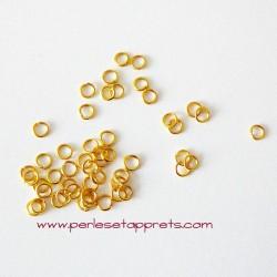 Lot 50 anneaux 4mm couleur or en cuivre pour bijoux, perles et apprêts