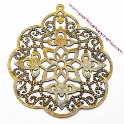 Lot 5 estampes rondes en filigrane en métal bronze laiton 58mm pour bijoux perles et apprêts