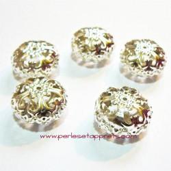 Perle ronde filigranée en métal argenté 25mm