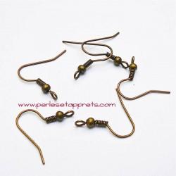 Lot 20 boucles d'oreilles attache crochet en métal laiton 19mm, à décorer, perles et apprêts