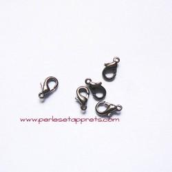Lot 10 fermoirs 10mm mousqueton gris gunmetal pour bijoux, perles et apprêts