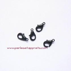 Lot 10 fermoirs 12mm mousqueton noir pour bijoux, perles et apprêts