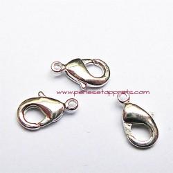 Lot 8 fermoirs mousqueton en métal argenté 10mm pour bijoux perles et apprêts