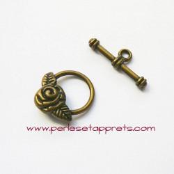 Fermoir toggle rose 15mm bronze laiton pour bijoux, perles et apprêts