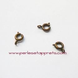 Lot 8 fermoirs 6mm mousqueton rond bronze laiton, pour bijoux, perles et apprêts