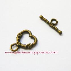 Fermoir toggle 17mm coeur bronze laiton pour bijoux, perles et apprêts