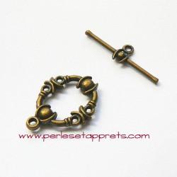 Fermoir toggle ovale 20mm bronze laiton pour bijoux, perles et apprêts