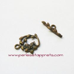 Fermoir toggle fleur 17mm bronze laiton pour bijoux, perles et apprêts