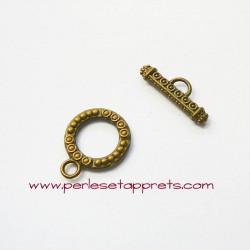 Fermoir toggle rond 15mm bronze laiton, pour bijoux, perles et apprêts