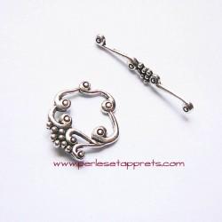 Fermoir toggle 25mm argent pour bijoux, perles et apprêts