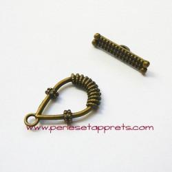 Fermoir toggle 25mm bronze laiton pour bijoux, perles et apprêts