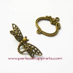 Fermoir toggle libellule 25mm bronze laiton pour bijoux, perles et apprêts