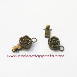 Fermoir fleur 8mm bronze laiton pour bijoux, perles et apprêts