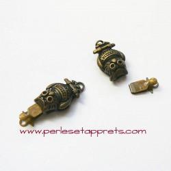 Fermoir hibou chouette 20mm bronze laiton pour bijoux, perles et apprêts