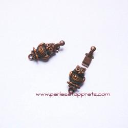 Fermoir hibou chouette 20mm cuivre bronze pour bijoux, perles et apprêts