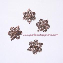 Connecteur fleur filigrane 22mm cuivre bronze pour bijoux, perles et apprêts