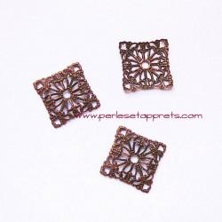 Connecteur carré filigrane 15mm cuivre bronze pour bijoux, perles et apprêts