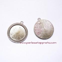 Lot 2 pendentifs ronds 40mm argent pour bijoux, à décorer, perles et apprêts