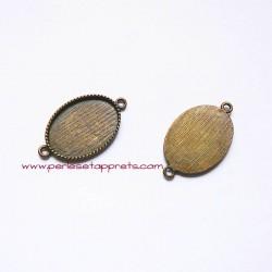 Pendentif connecteur ovale 35mm bronze laiton, à décorer pour bijoux, fimo, perles et apprêts