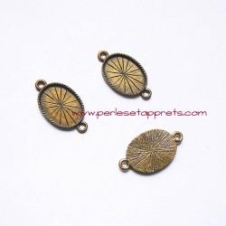 Pendentif connecteur ovale 27mm bronze laiton, à décorer, fimo, bijoux, perles et apprêts