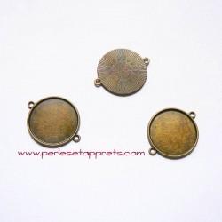 Pendentif connecteur rond 28mm bronze laiton à décorer, fimo, bijoux, perles et apprêts