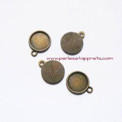 Lot 6 pendentifs ronds 15mm bronze laiton, à décorer, fimo, perles et apprêts