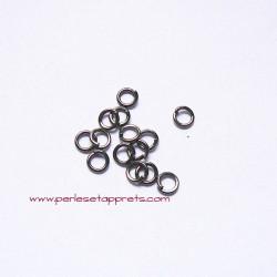 Lot 50 anneaux ronds 4mm gris gunmetal, ouvert simple de jonction, perles et apprêts