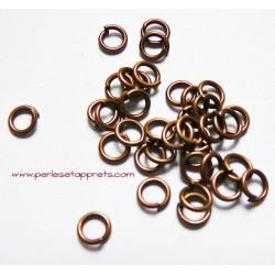 Lot 30 anneaux de jonction rond ouvert simple en métal cuivre 6mm, perles et apprêts pour bijoux