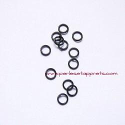Lot 40 anneaux ronds ouverts de jonction simple 6mm noir pour bijoux, perles et apprêts
