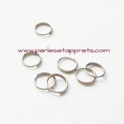Lot 50 double anneaux ouverts 7mm argent rhodié pour bijoux, perles et apprêts