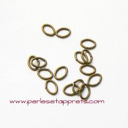 Lot 30 anneaux ovales ouverts de jonction 7mm bronze laiton, perles et apprêts