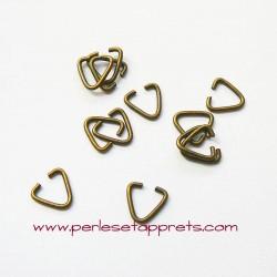 Lot 20 anneaux triangles 9mm bronze laiton pour bijoux, perles et apprêts