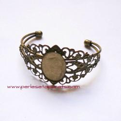 Lot 2 bracelets jonc réglable en laiton estampe filigrane, à décorer, perles et apprêts