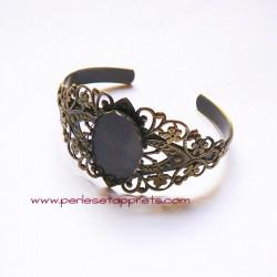 Bracelet jonc réglable en laiton estampe filigrane, à décorer, perles et apprêts